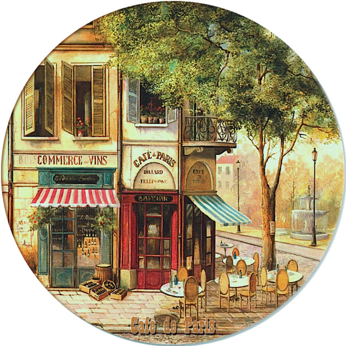Доска разделочная Gift'n'Home Парижское кафе, стеклянная, диаметр 19 см цена