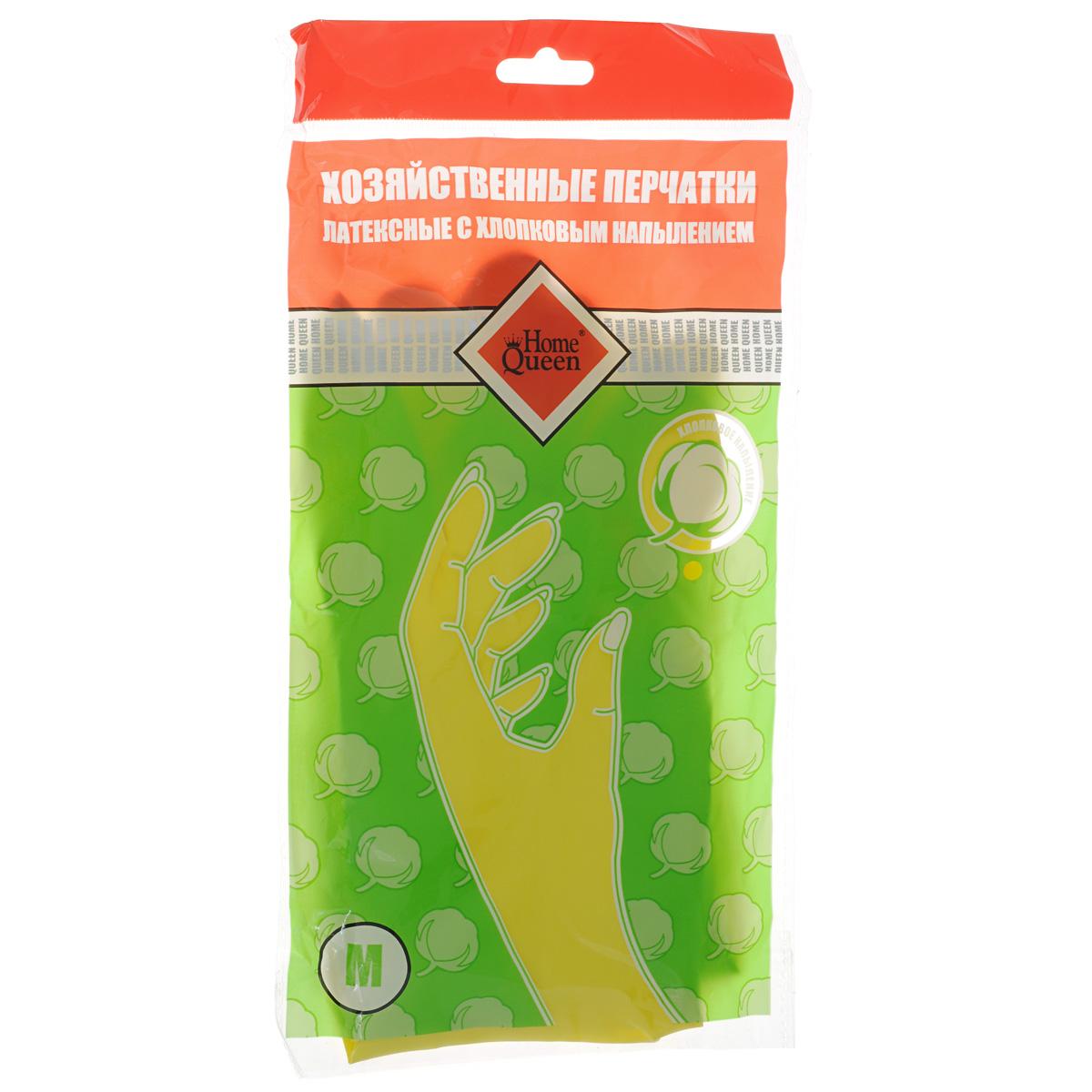 Перчатки латексные Home Queen, с хлопковым напылением. Размер M перчатки хозяйственные доминго с хлопковым напылением цвет зеленый размер m