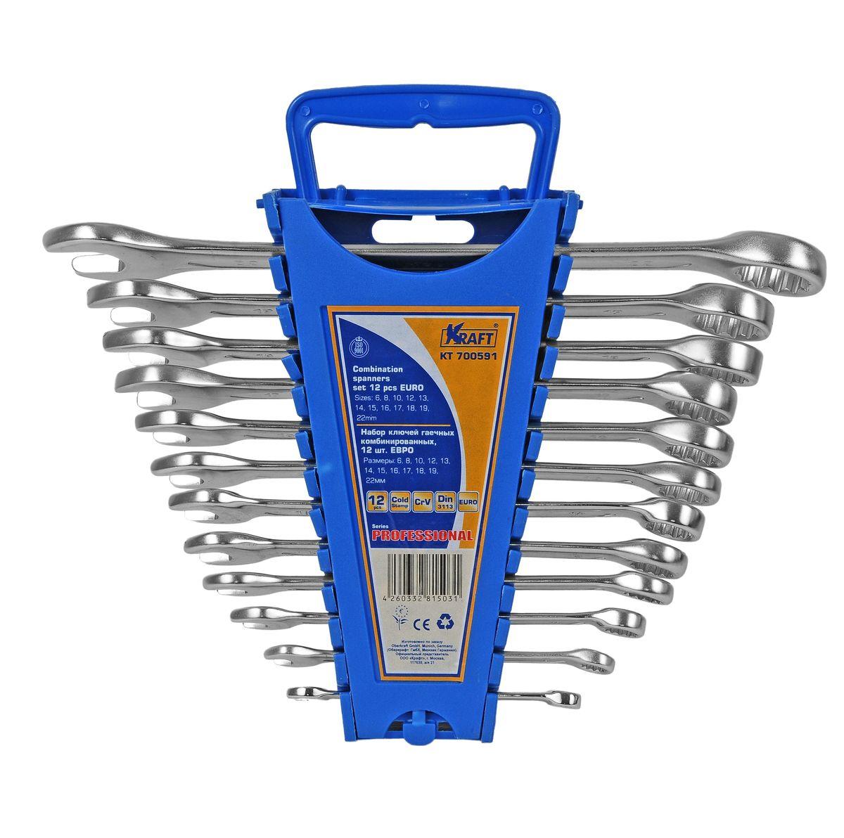 Набор комбинированных гаечных ключей Kraft Professional Euro, 6 мм - 22 мм, 12 шт набор комбинированных гаечных ключей 12 шт курс 63418 6 22 мм
