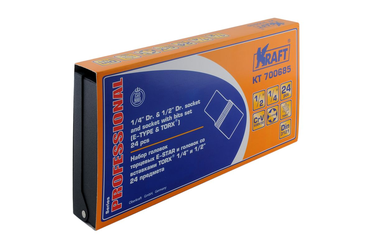 Набор торцевых головок Kraft Professional Е-star, со вставками Torx, 1/2, 1/4, 24 предмета набор инструментов kraft professional универсальный 1 2 1 4 82 предмета
