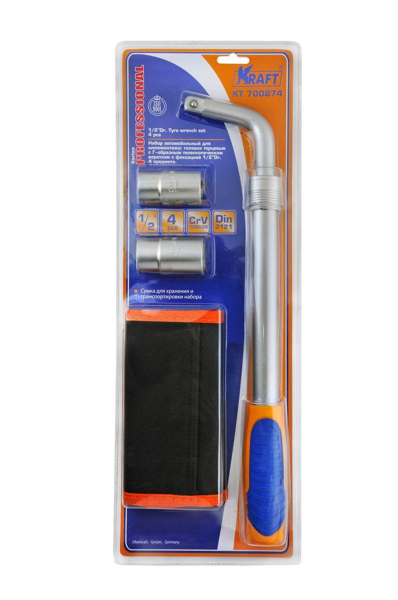 Набор автомобильный Kraft Professional, для шиномонтажа, с сумкой, 1/2'', 4 предмета набор инструментов kraft professional универсальный 1 2 1 4 82 предмета