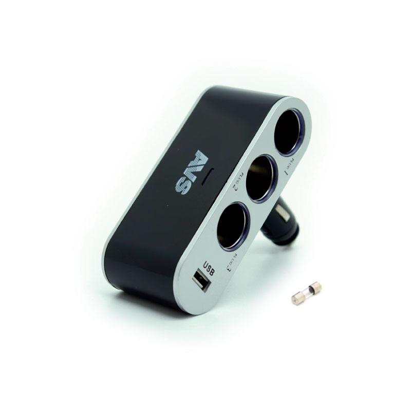 Разветвитель прикуривателя AVS CS312U, со светодиодной подсветкой, 3 выхода + USB, 12/24В разветвитель прикуривателя avs cs211u со светодиодной подсветкой 2 выхода usb 12 24в