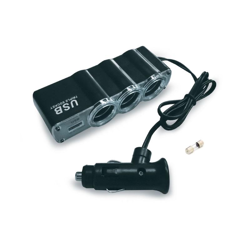 Разветвитель прикуривателя AVS CS314U, со светодиодной подсветкой, 3 выхода + USB, 12/24В разветвитель прикуривателя avs cs211u со светодиодной подсветкой 2 выхода usb 12 24в