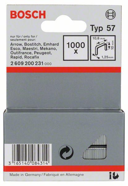 Скрепки для степлера Bosch 1000 10/10.6мм тип 57 2609200231 скрепки для степлера bosch 1000 14мм тип 53 1609200368
