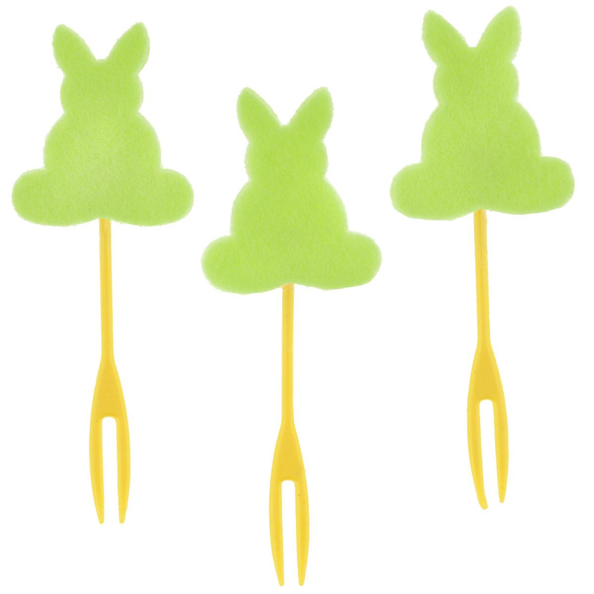Набор декоративных вилочек Home Queen Кролик для украшения кулича, цвет в ассортименте, длина 10 см, 3 шт набор декоративных вилочек home queen курочка для украшения кулича цвет желтый длина 10 см 3 шт