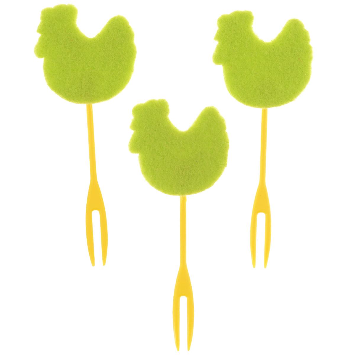 Набор декоративных вилочек Home Queen Курочка для украшения кулича, цвет: зеленый, длина 10 см, 3 шт набор декоративных вилочек home queen курочка для украшения кулича цвет желтый длина 10 см 3 шт