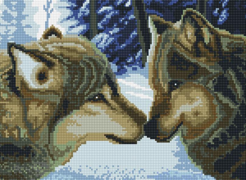 Набор для творчества Алмазная мозаика. Два волка, 30 см х 40 см тортовница loraine 30 5 см 27639