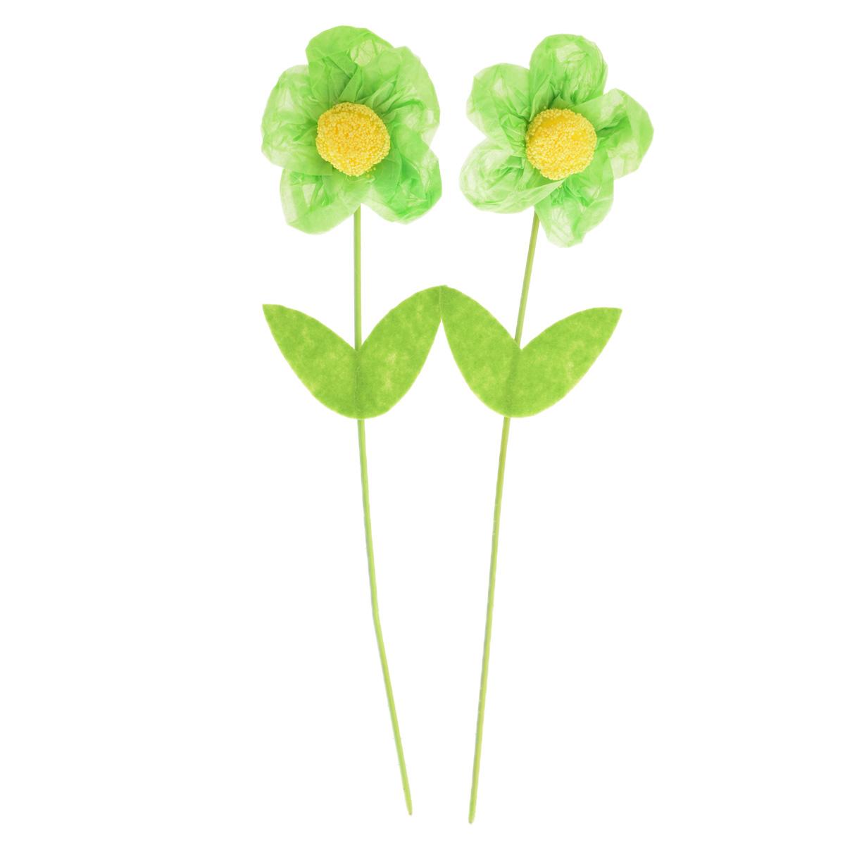 Набор декоративных украшений Home Queen Цветок, цвет: зеленый, 2 шт, высота 25 см набор декоративных вилочек home queen курочка для украшения кулича цвет желтый длина 10 см 3 шт