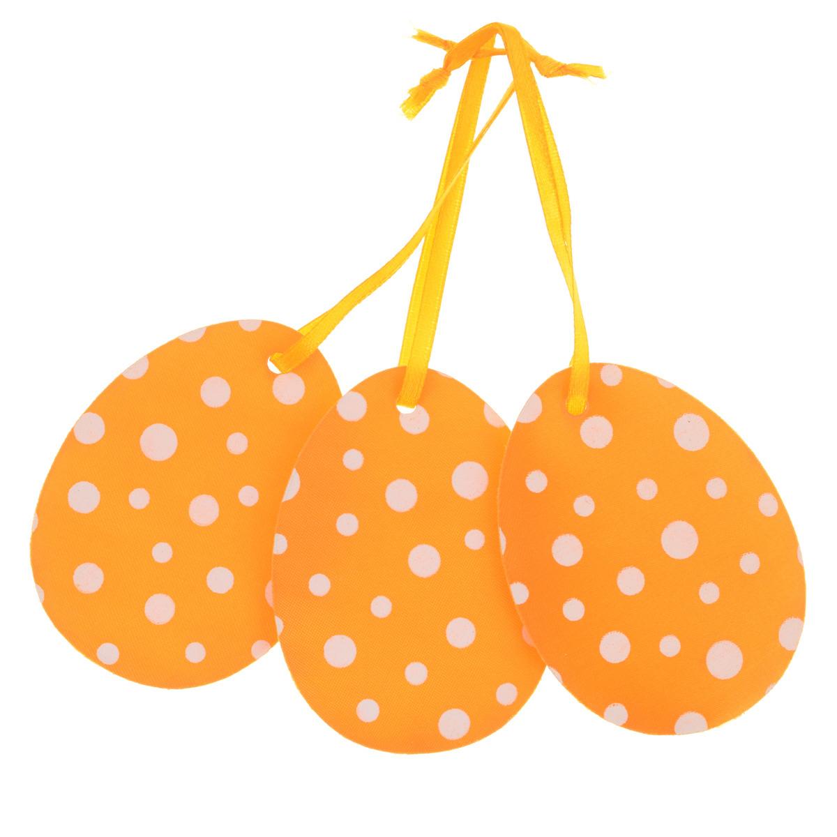 Набор пасхальных подвесных украшений Home Queen Нежность, цвет: оранжевый, 3 шт