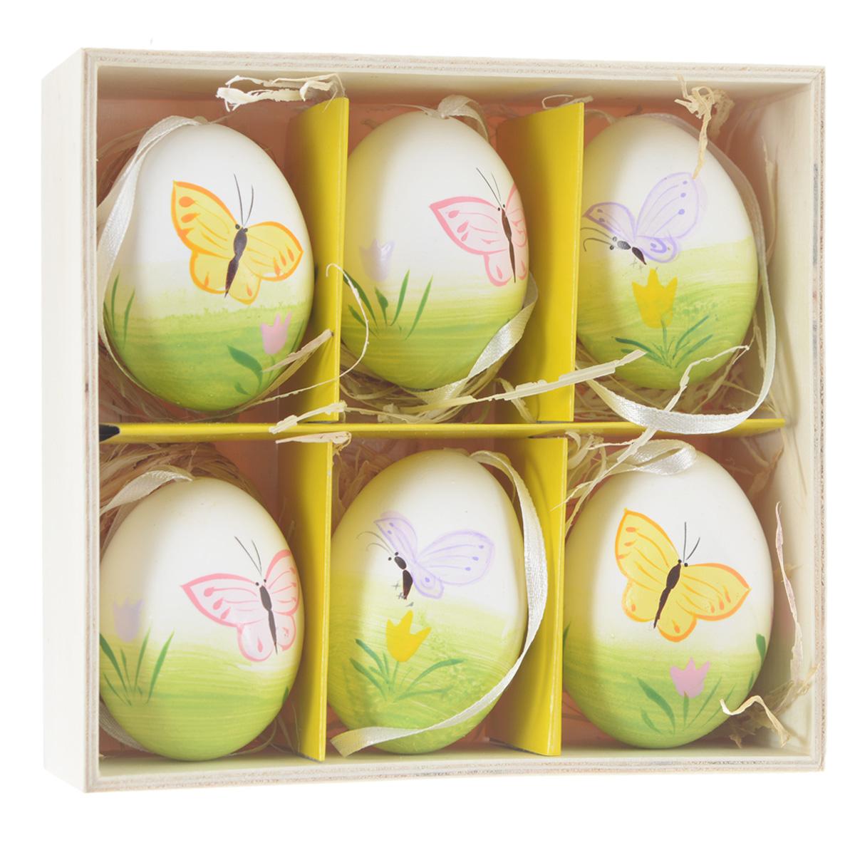 Декоративные подвесные пасхальные яйца Феникс-презент, 6 шт. 36904 чашка для яйца colour caro
