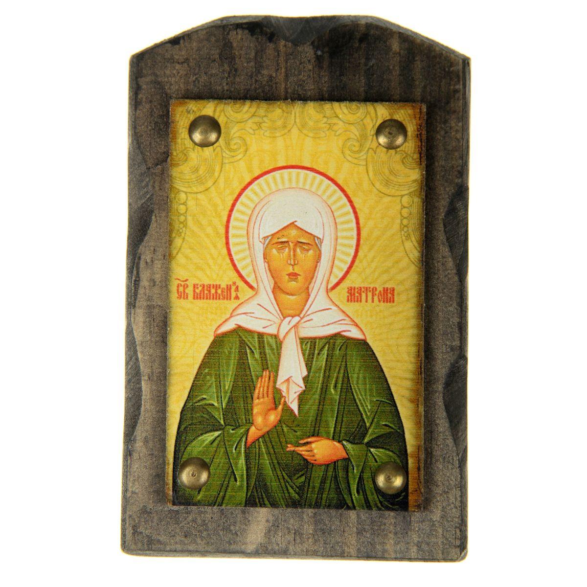 Икона на дереве Святая Матрона Московская, 9,5 см х 15 см икона 6 мечей