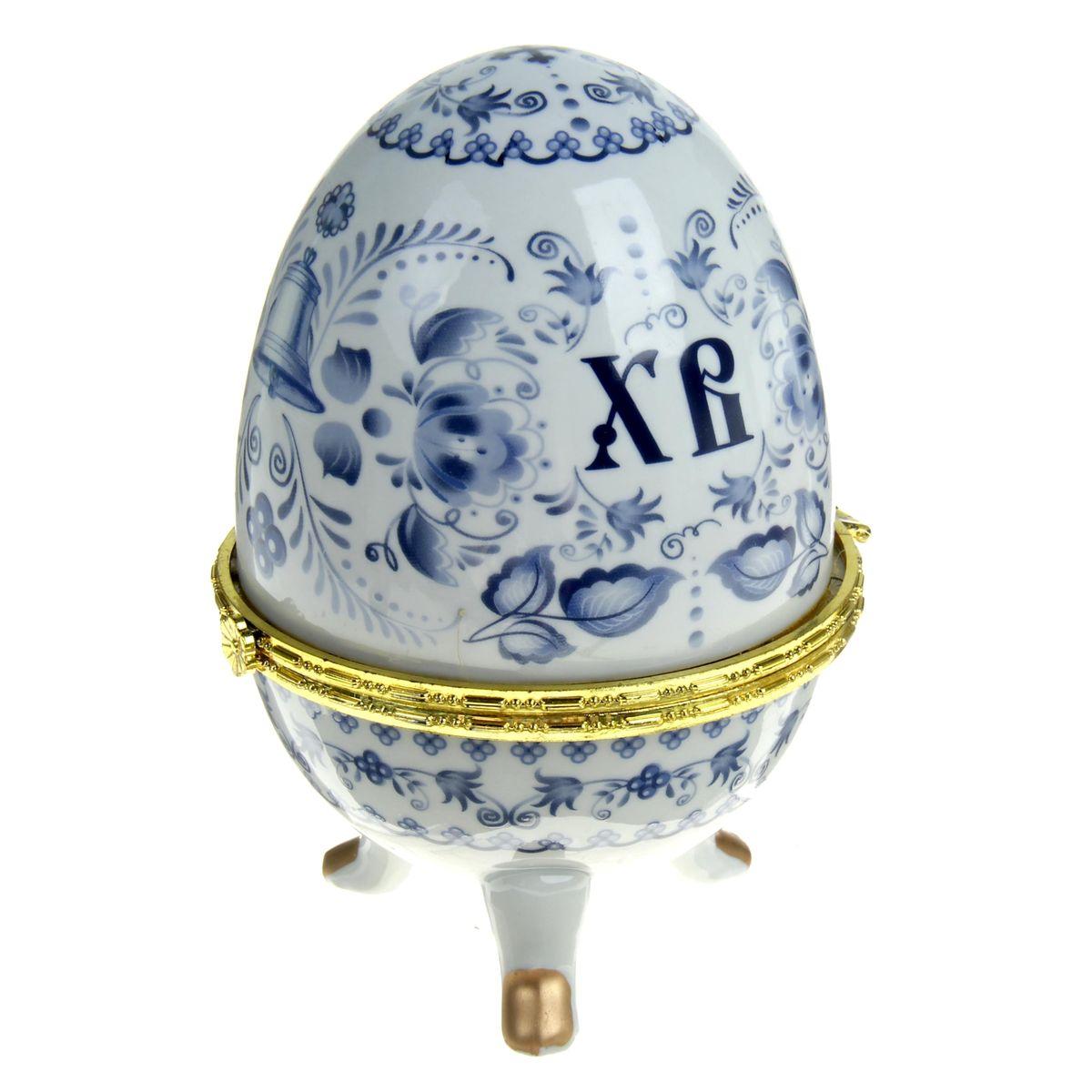 Яйцо-шкатулка Sima-land Гжель, высота 15 см подсвечник декоративный sima land обезьянка в шарфике на шаре высота 13 3 см