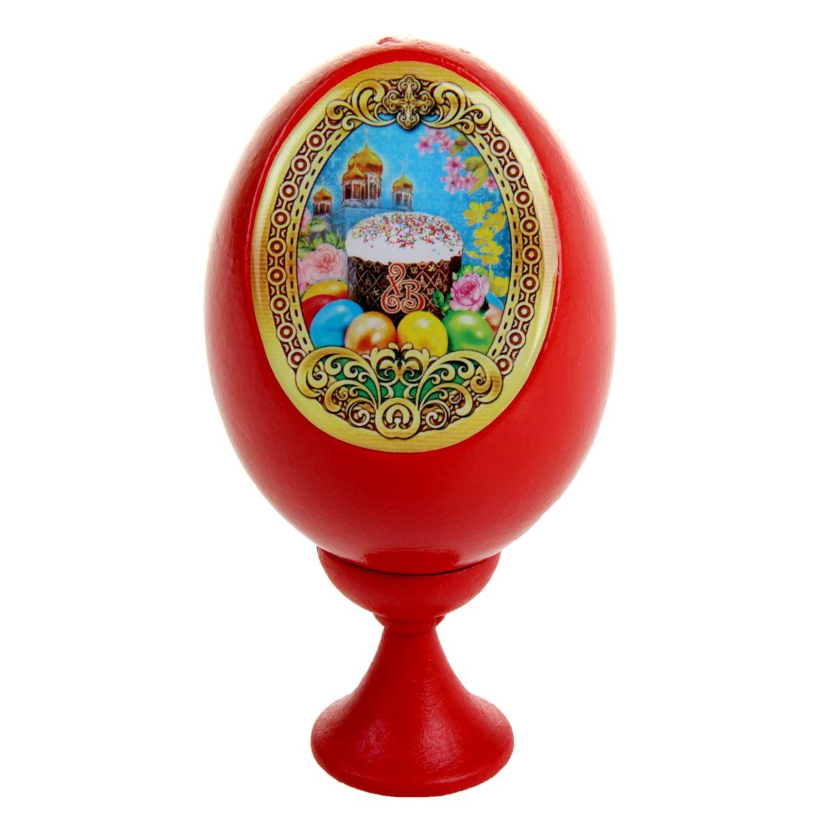 Яйцо декоративное Sima-land Куличи и храм, на подставке, высота 11 см яйцо декоративное sima land христос воскресший на подставке высота 11 см