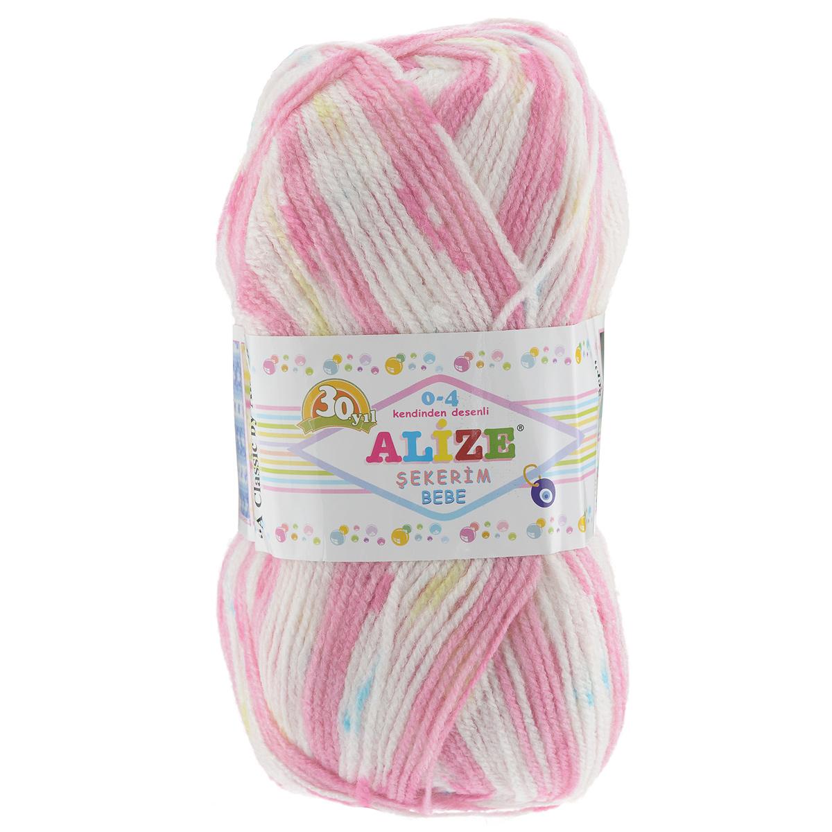 "Пряжа для вязания Alize ""Sekerim Bebe"", цвет: розовый, белый (102), 350 м, 100 г, 5 шт"