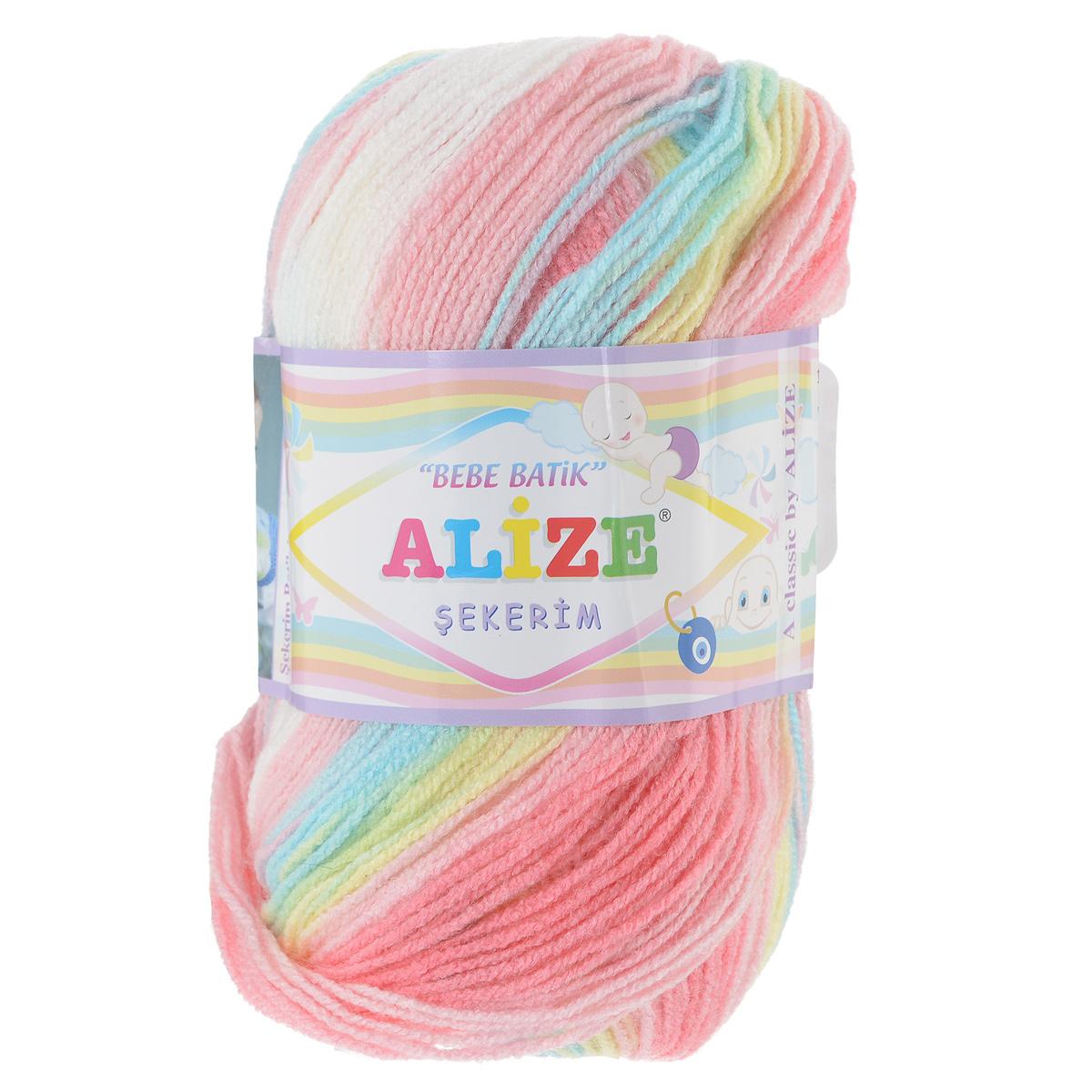 Пряжа для вязания Alize Sekerim Bebe Batik, цвет: розовый, желтый, голубой (3045), 320 м, 100 г, 5 шт лонгслив для девочки batik цвет розовый ds0143 4 размер 140
