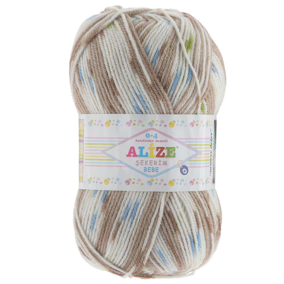 Пряжа для вязания Alize Sekerim Bebe, цвет: темно-коричневый, голубой, зеленый (109), 350 м, 100 г, 5 шт 1gb