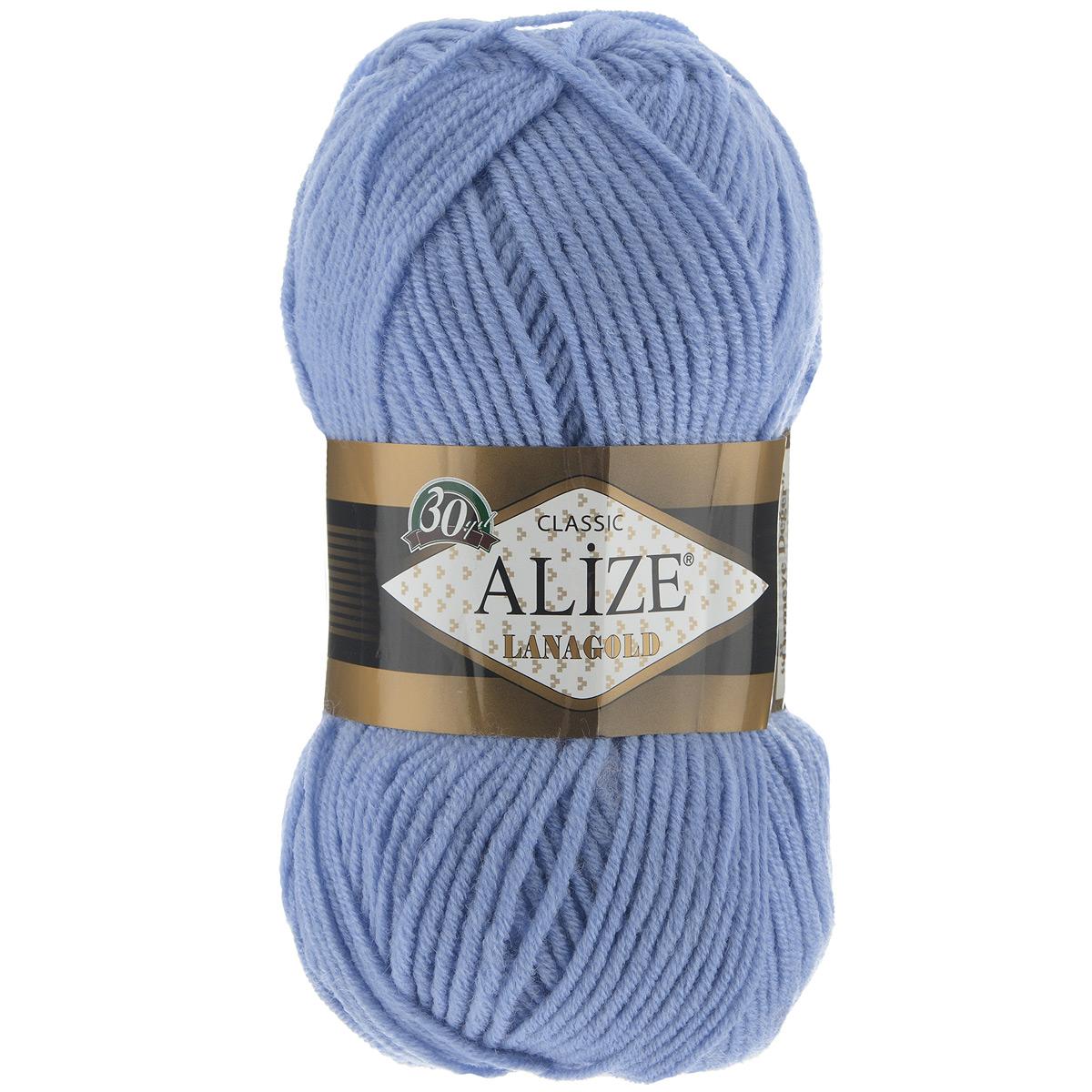 """Пряжа для вязания Alize """"Lanagold"""", цвет: голубой (40), 240 м, 100 г, 5 шт"""
