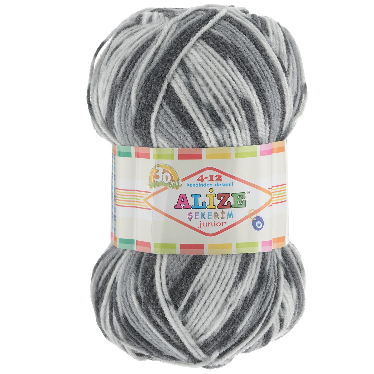 Пряжа для вязания Alize Sekerim Junior, цвет: черный, серый, белый (711), 320 м, 100 г, 5 шт цена