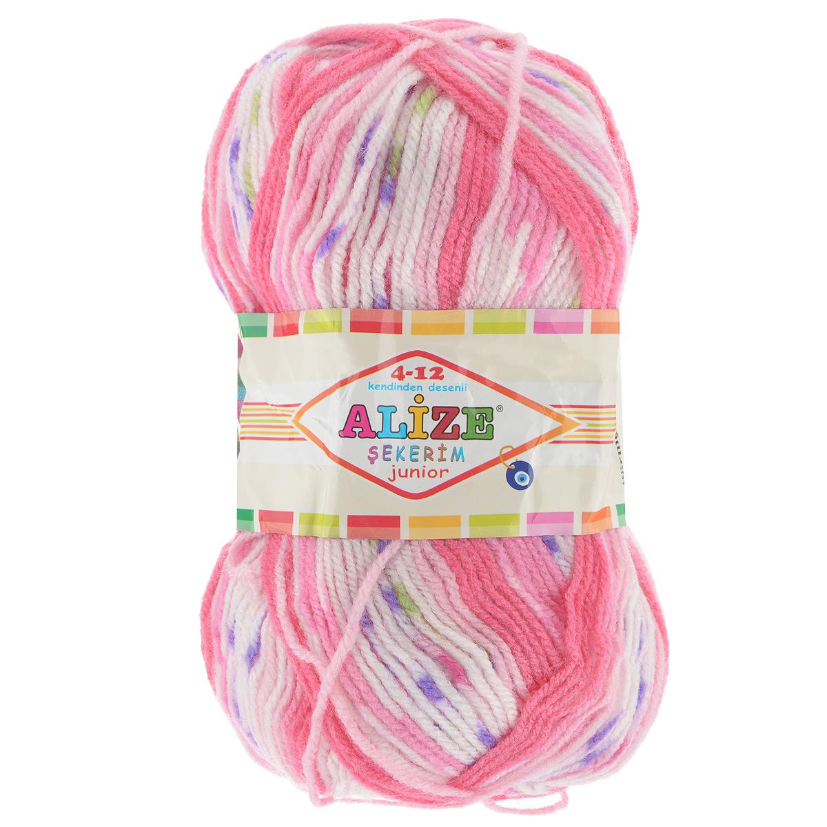 Пряжа для вязания Alize Sekerim Junior, цвет: белый, розовый, фиолетовый (707), 320 м, 100 г, 5 шт цена