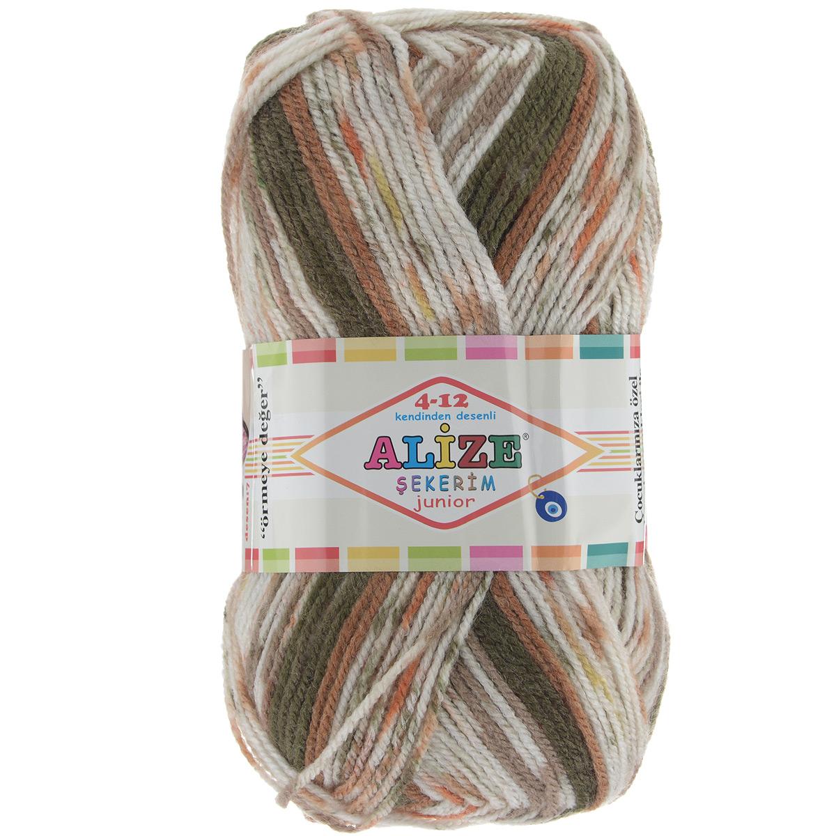 Пряжа для вязания Alize Sekerim Junior, цвет: бежевый, бурый, коричневый (712), 320 м, 100 г, 5 шт цена