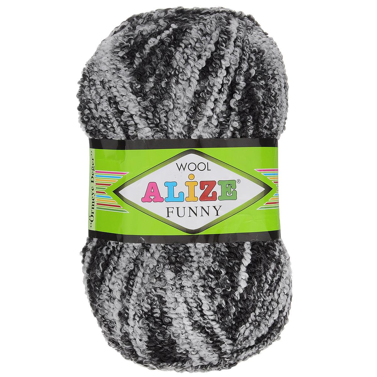 """Пряжа для вязания Alize """"Wool Funny"""", цвет: черный, белый (1001), 170 м, 100 г, 5 шт"""