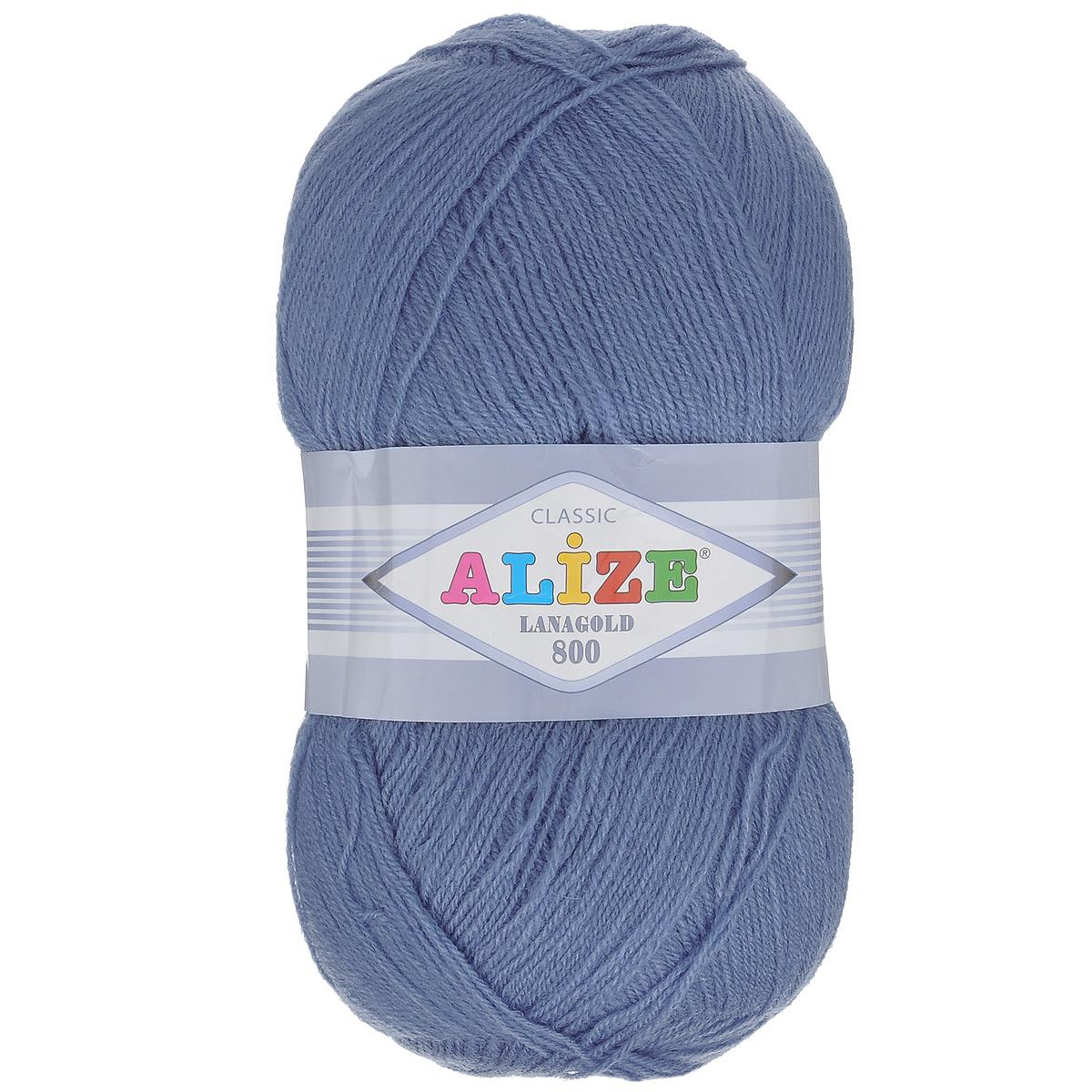 """Пряжа для вязания Alize """"Lanagold 800"""", цвет: джинс (203), 800 м, 100 г, 5 шт"""