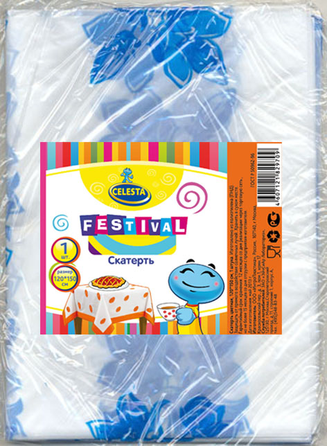 Скатерть одноразовая Celesta Festival, цвет в ассортименте, 120 x 150 см набор пластиковых мисок для супа celesta festival цвет белый 500 мл 12 шт