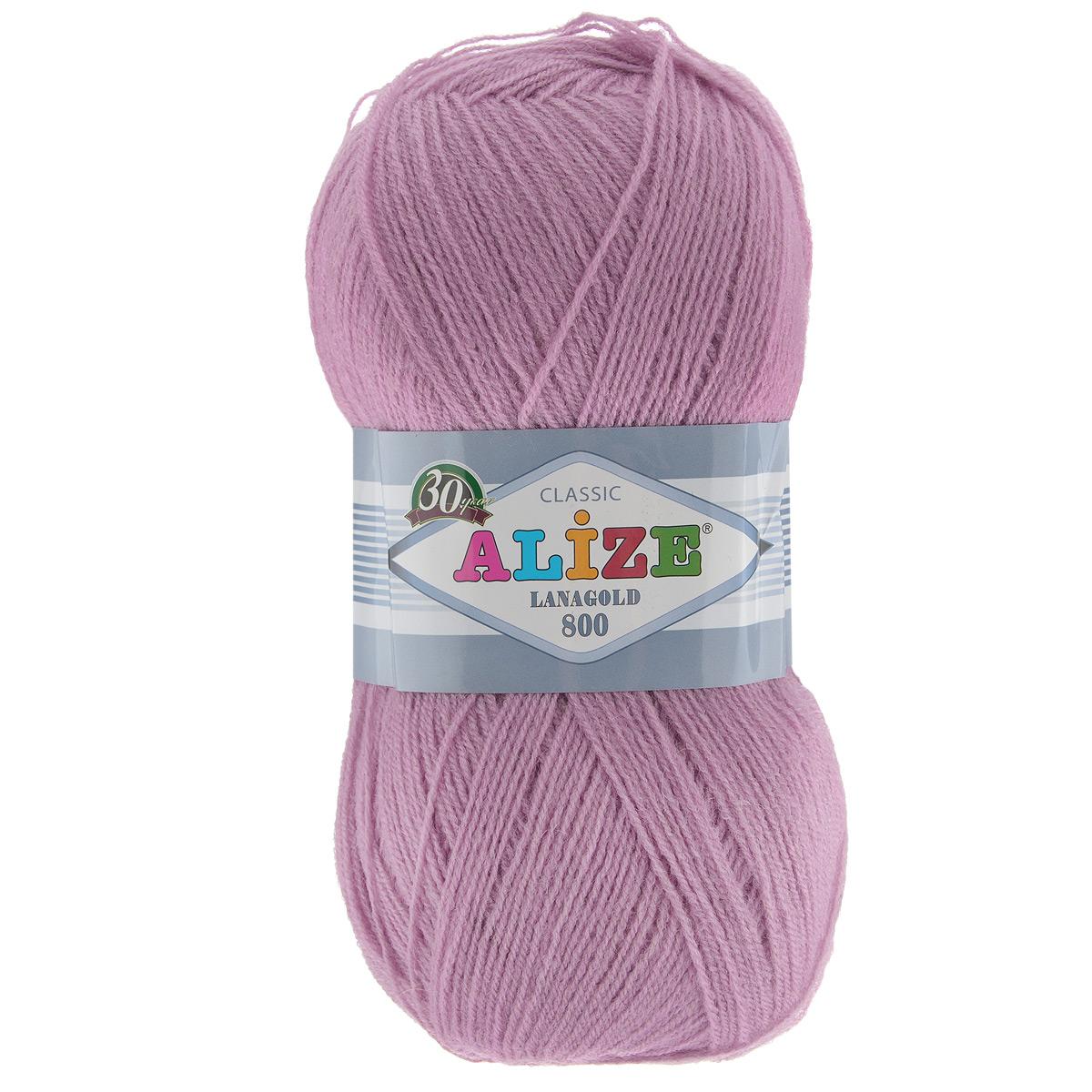 """Пряжа для вязания Alize """"Lanagold 800"""", цвет: розовый (28), 800 м, 100 г, 5 шт"""