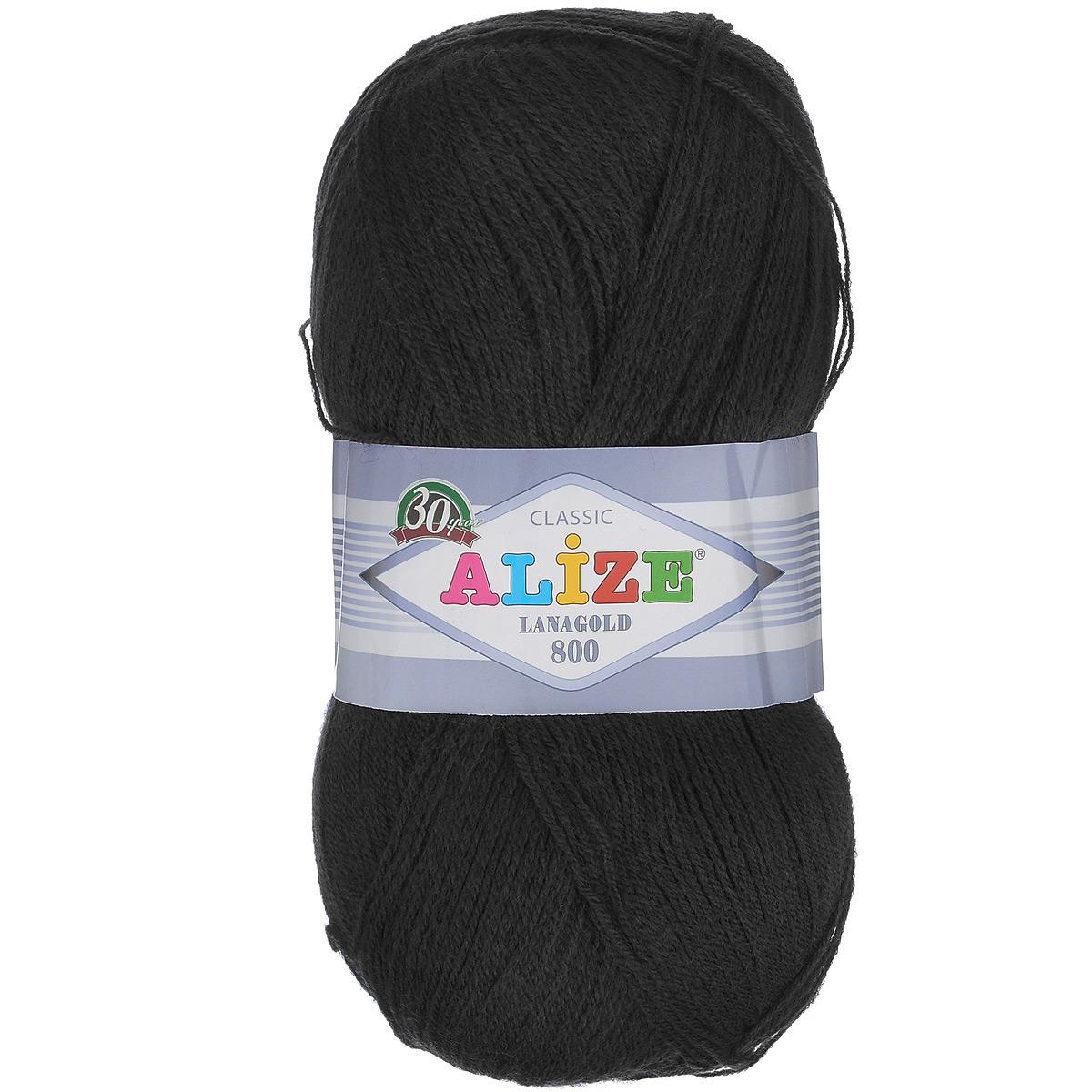 """Пряжа для вязания Alize """"Lanagold 800"""", цвет: черный (60), 800 м, 100 г, 5 шт"""