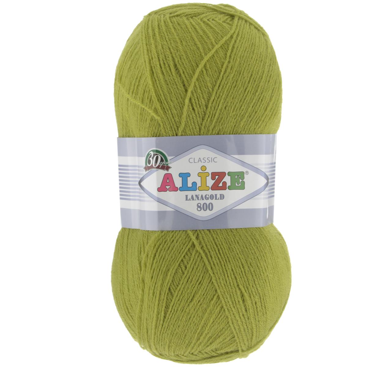 """Пряжа для вязания Alize """"Lanagold 800"""", цвет: фисташка (193), 800 м, 100 г, 5 шт"""