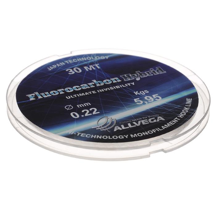 Леска Allvega Fluorocarbon Hybrid, цвет: прозрачный, 30 м, 0,22 мм, 5,95 кг