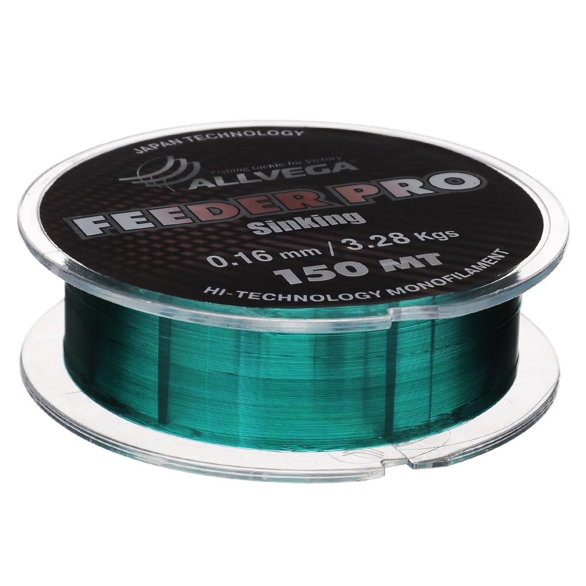 Леска Allvega Feeder Pro Sinking, цвет: темно-зеленый, 150 м, 0,16 мм, 3,28 кг