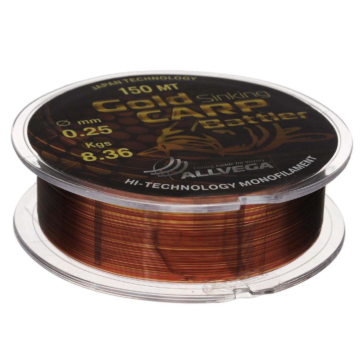 Леска Allvega Gold Karp Battler, цвет: коричневый, 150 м, 0,25 мм, 8,36 кг