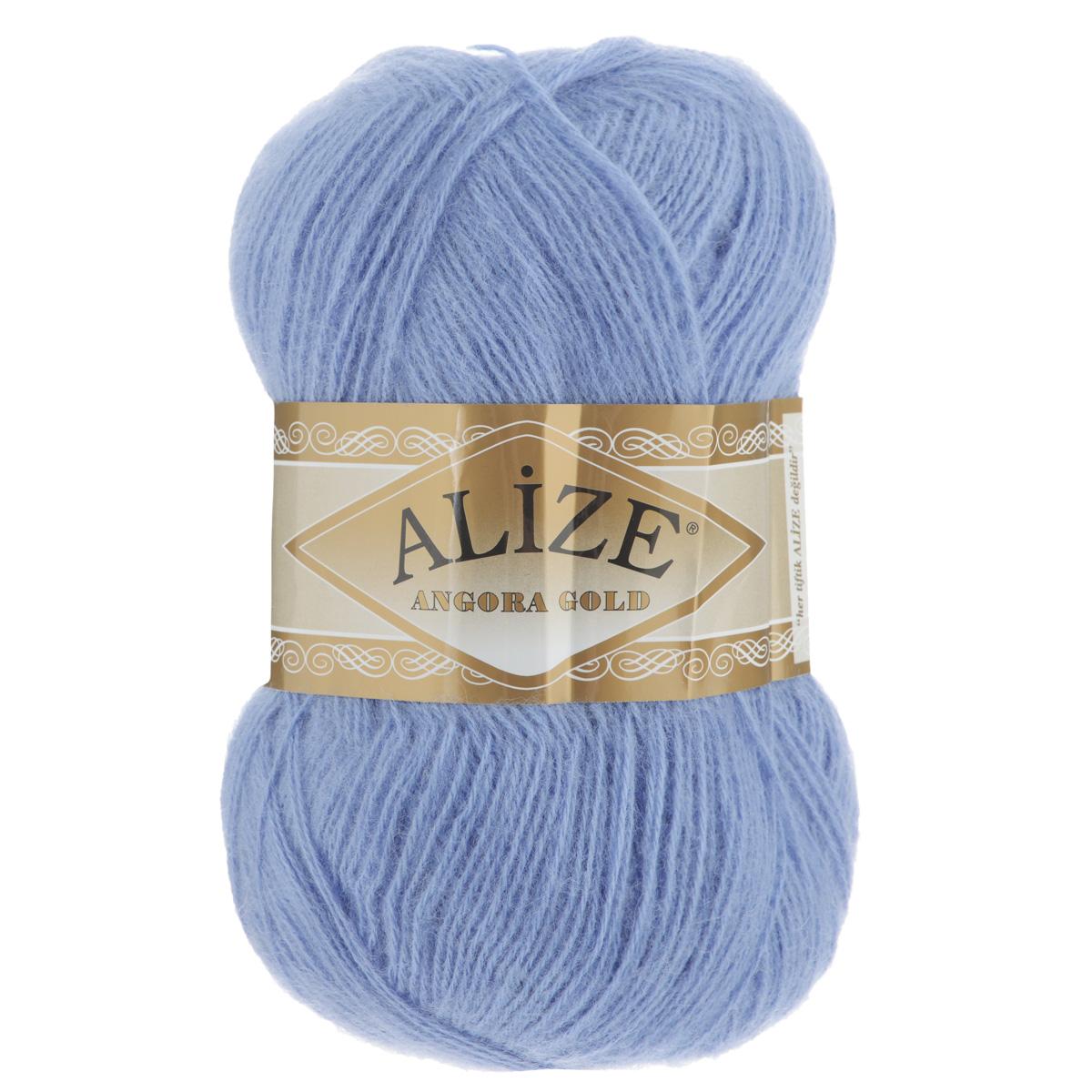 """Пряжа для вязания Alize """"Angora Gold"""", цвет: темно-голубой (40), 550 м, 100 г, 5 шт"""