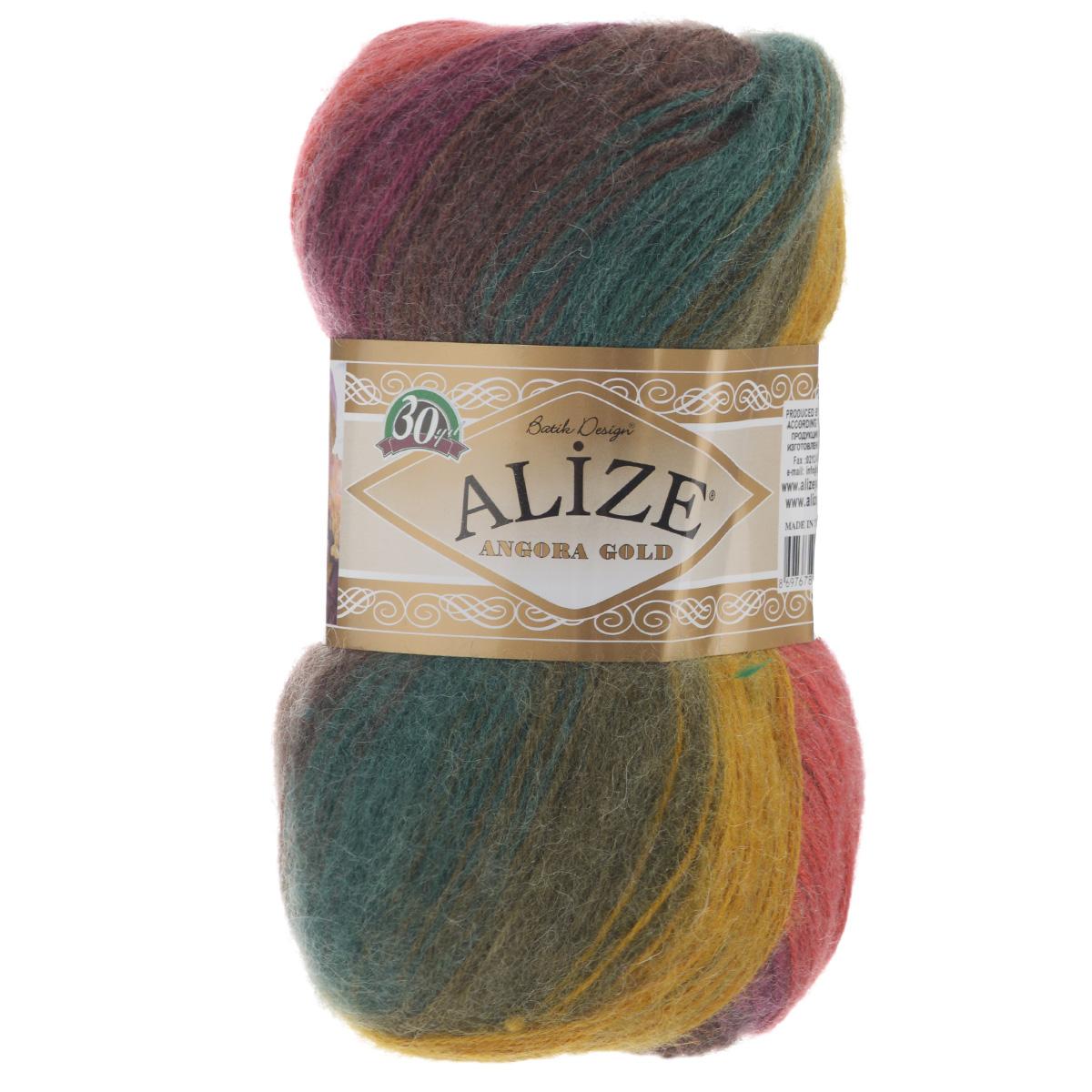 """Пряжа для вязания Alize """"Angora Gold Batik"""", цвет: зеленый, красный, коричневый (3368), 550 м, 100 г, 5 шт"""