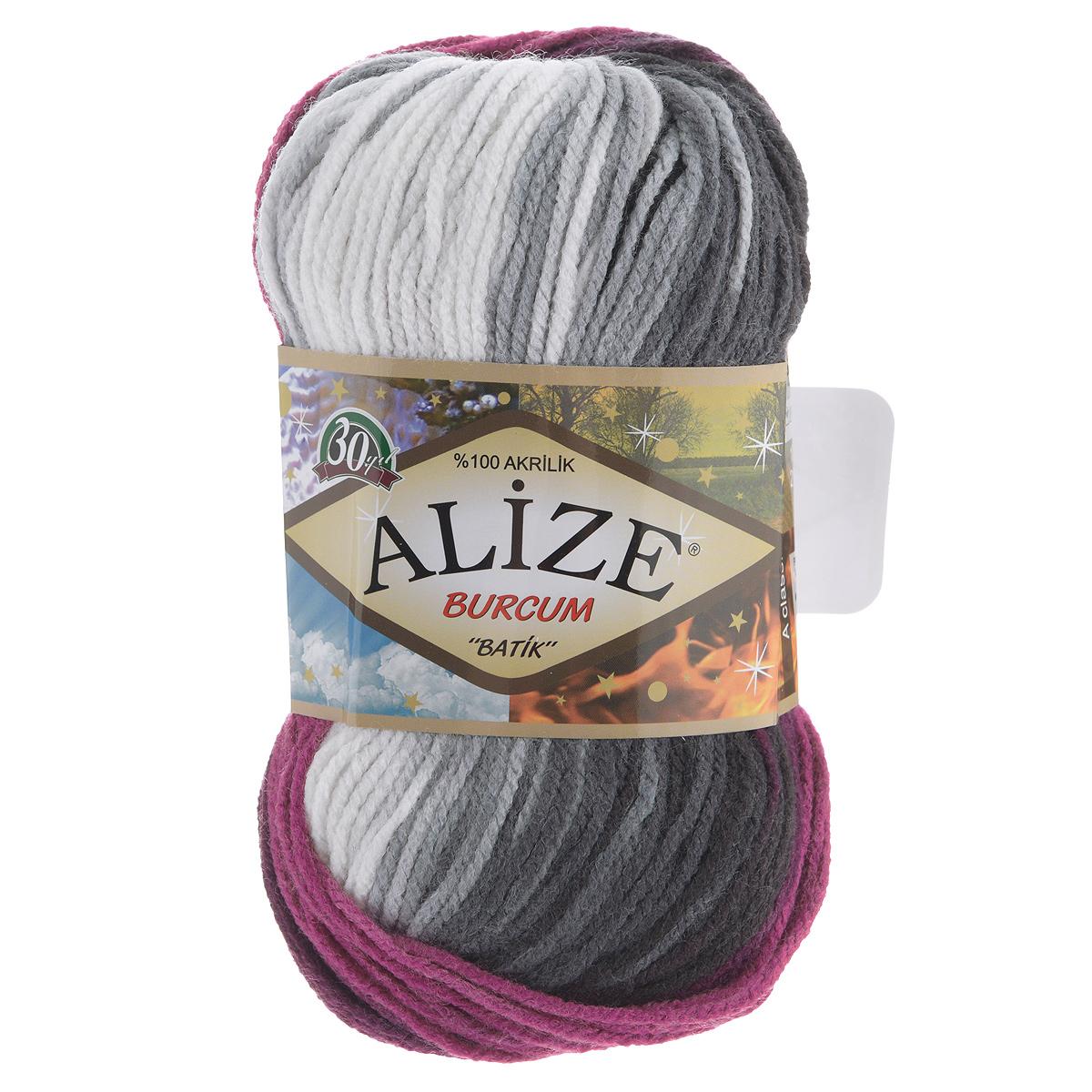 """Пряжа для вязания Alize """"Burсum Batik"""", цвет: малиновый, белый, черный (4202), 210 м, 100 г, 5 шт"""