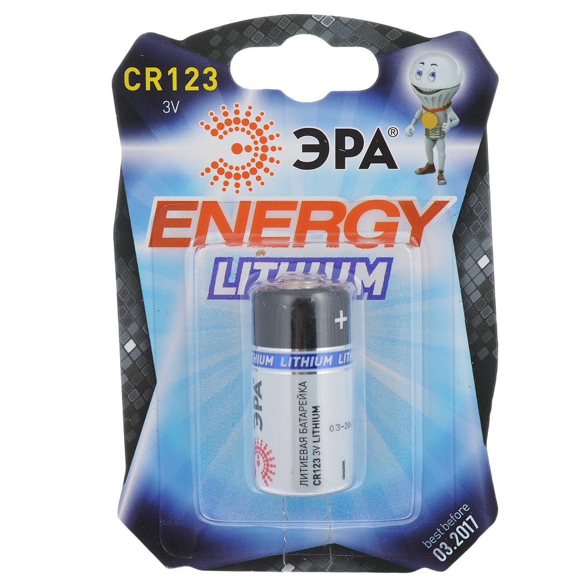 Батарейка литиевая ЭРА Energy, тип CR123 (1BL), 3В батарейка алкалиновая эра energy тип a27 1bl 12в