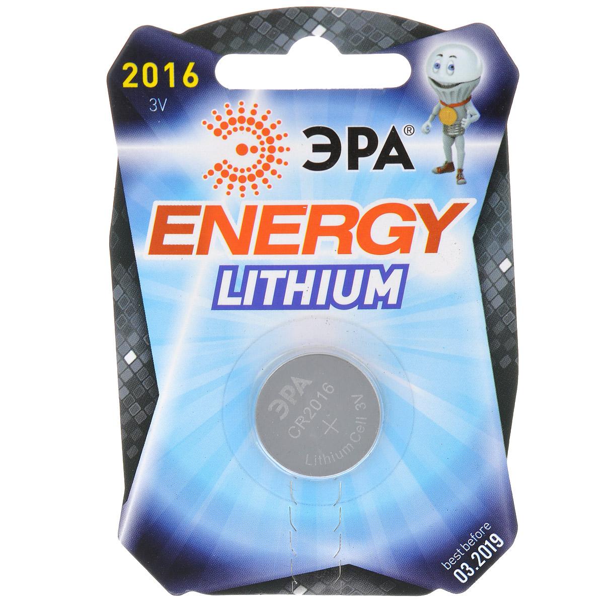 Батарейка литиевая ЭРА Energy, тип CR2016 (1BL), 3В батарейка алкалиновая эра energy тип a27 1bl 12в