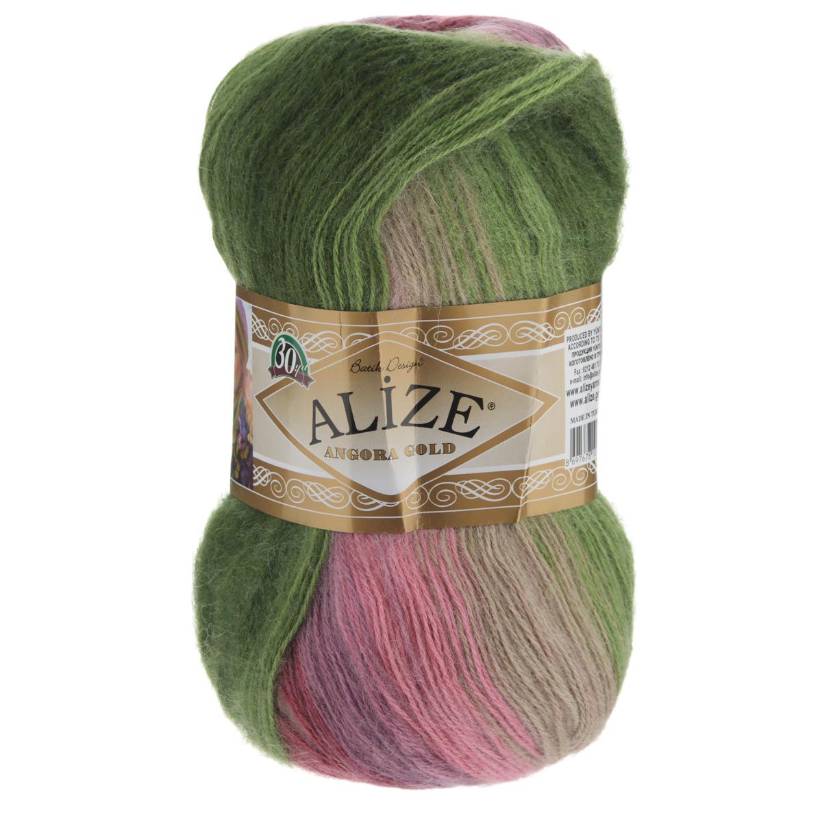"""Пряжа для вязания Alize """"Angora Gold Batik"""", цвет: розовый, зеленый, сиреневый (2527), 550 м, 100 г, 5 шт"""