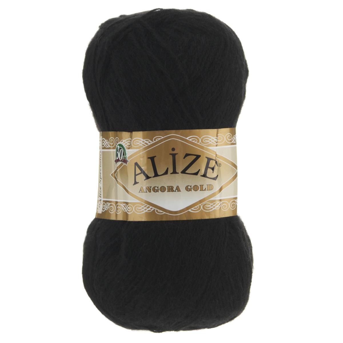 """Пряжа для вязания Alize """"Angora Gold"""", цвет: черный (60), 550 м, 100 г, 5 шт"""