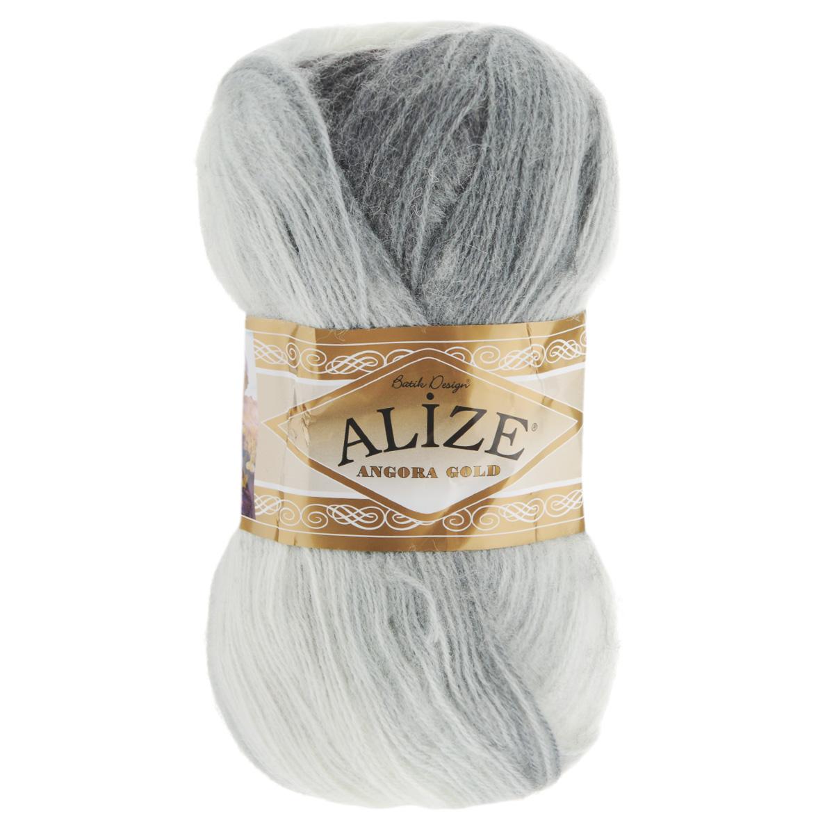 """Пряжа для вязания Alize """"Angora Gold Batik"""", цвет: белый, серый, черный (1900), 550 м, 100 г, 5 шт"""