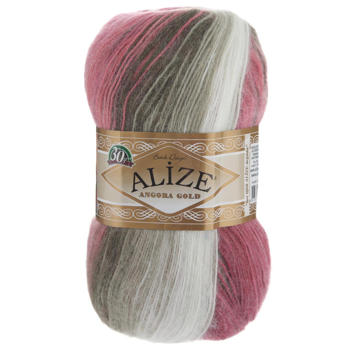 """Пряжа для вязания Alize """"Angora Gold Batik"""", цвет: белый, вишневый, коричневый (1984), 550 м, 100 г, 5 шт"""