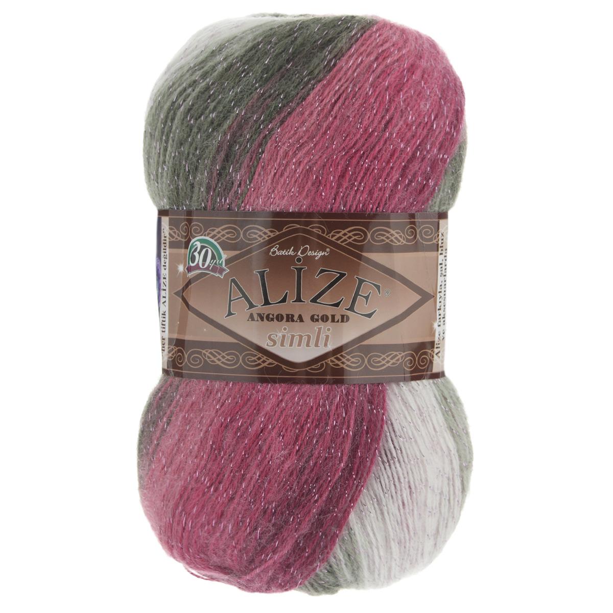 """Пряжа для вязания Alize """"Angora Gold Batik. Simli"""", цвет: малиновый, серый, белый (1984), 500 м, 100 г, 5 шт"""