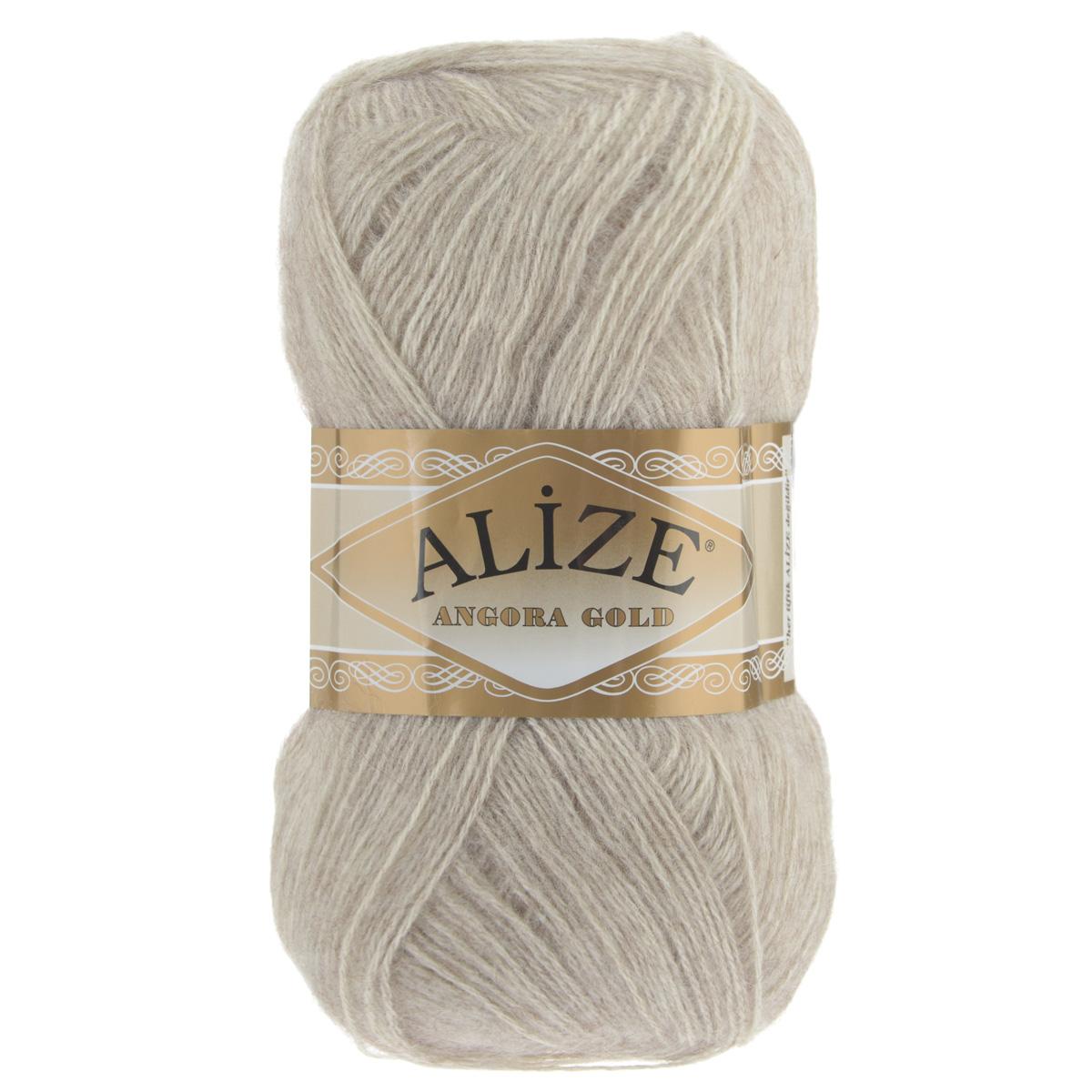 "Пряжа для вязания Alize ""Angora Gold"", цвет: бежевый меланж (152), 550 м, 100 г, 5 шт"
