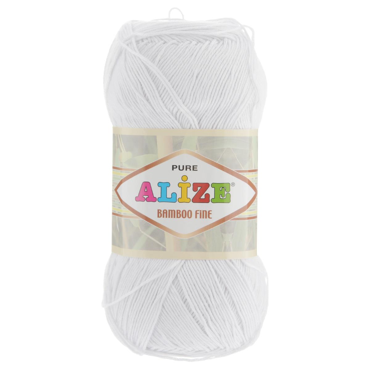 Пряжа для вязания Alize Bamboo Fine, цвет: белый (55), 440 м, 100 г, 5 шт пряжа для вязания alize bamboo fine цвет зеленый синий фиолетовый 3260 440 м 100 г 5 шт