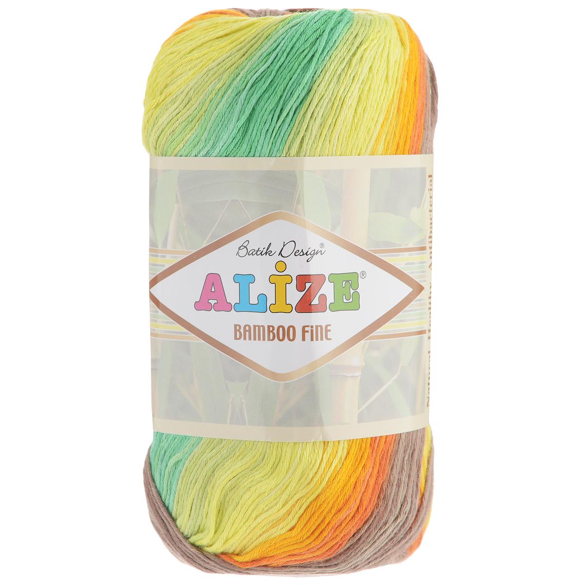 Пряжа для вязания Alize Bamboo Fine, цвет: желтый, зеленый, оранжевый (4559), 440 м, 100 г, 5 шт пряжа для вязания alize bamboo fine цвет зеленый синий фиолетовый 3260 440 м 100 г 5 шт