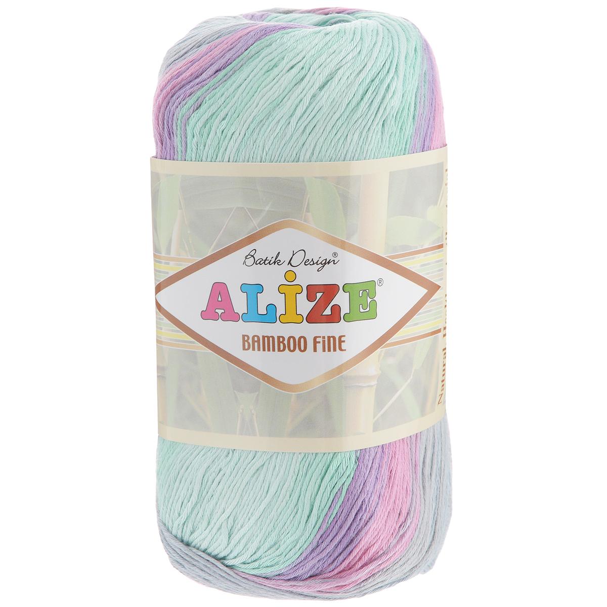 Пряжа для вязания Alize Bamboo Fine, цвет: светло-серый, розовый, зеленый (3256), 440 м, 100 г, 5 шт пряжа для вязания alize bamboo fine цвет зеленый синий фиолетовый 3260 440 м 100 г 5 шт