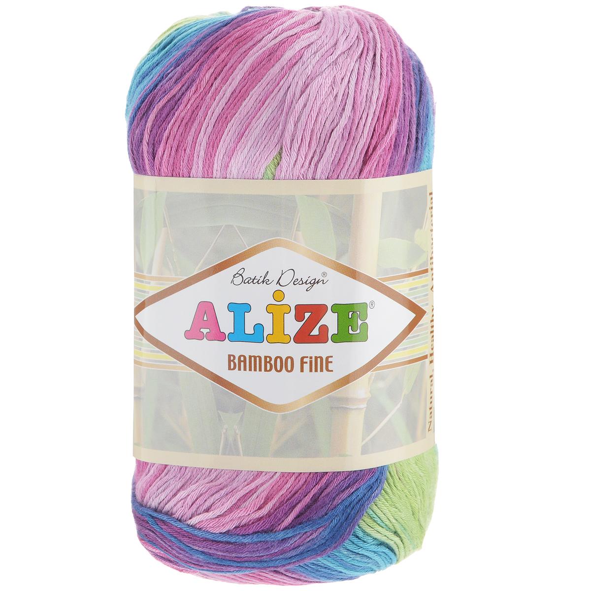 Пряжа для вязания Alize Bamboo Fine, цвет: зеленый, синий, фиолетовый (3260), 440 м, 100 г, 5 шт пряжа для вязания alize bamboo fine цвет зеленый синий фиолетовый 3260 440 м 100 г 5 шт