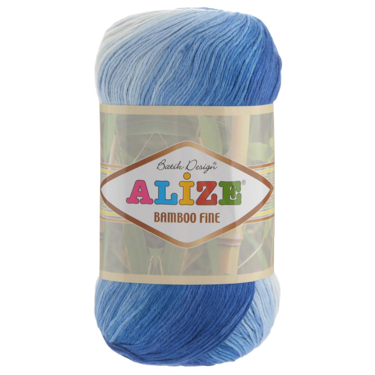 Пряжа для вязания Alize Bamboo Fine, цвет: белый, синий, голубой (1833), 440 м, 100 г, 5 шт пряжа для вязания alize bamboo fine цвет зеленый синий фиолетовый 3260 440 м 100 г 5 шт