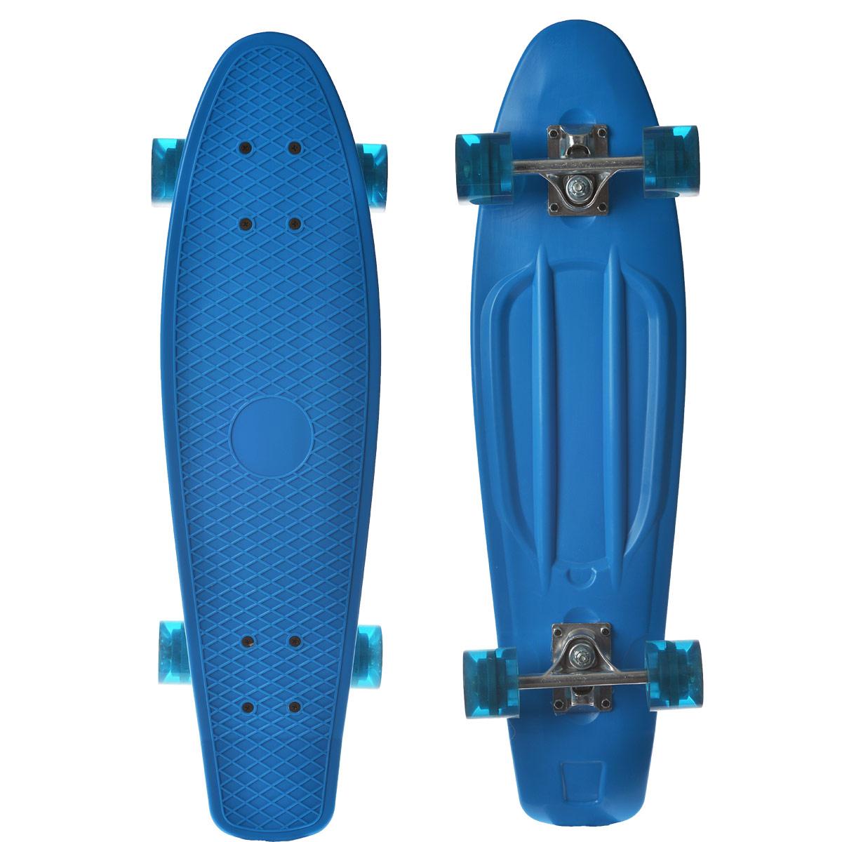 Скейтборд пластиковый Action, цвет: голубой, дека 71 см х 19 см